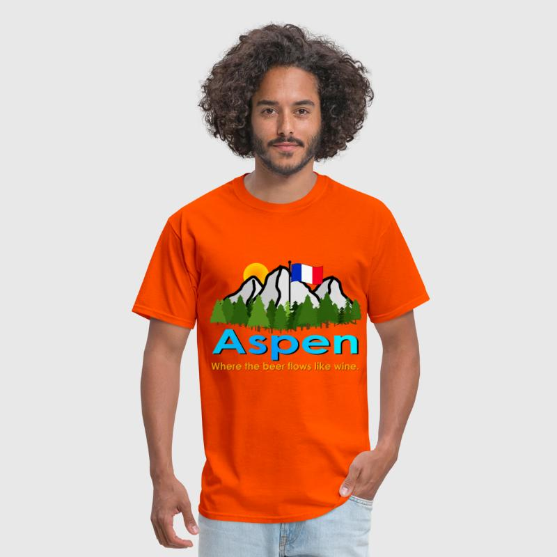 Aspen: Where the Beer Flows Like Wine - Men's T-Shirt