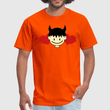 devil boy cute with love hearts - Men's T-Shirt