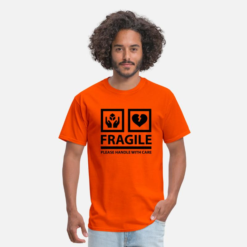 Box T-Shirts - FRAGILE - Please Handle With Care (Sign) - Men's T-Shirt orange