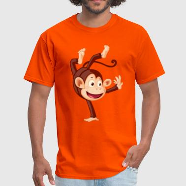 Monkeys cute cartoon monkey on hand - Men's T-Shirt