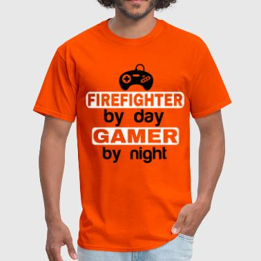Gamer By Night FIREFIGHTER BY DAY GAMER BY NIGHT - Men's T-Shirt