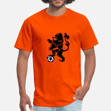 Dutch Orange Dutch Lion Weapon with soccer ball - Men's T-Shirt