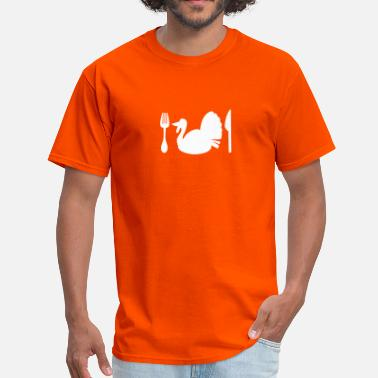 Fork And Plate Thanksgiving turkey plate knife and fork - Men's T-Shirt