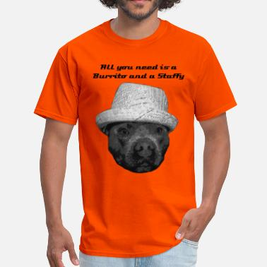 Staffie Dog Burrito Staffy - Men's T-Shirt