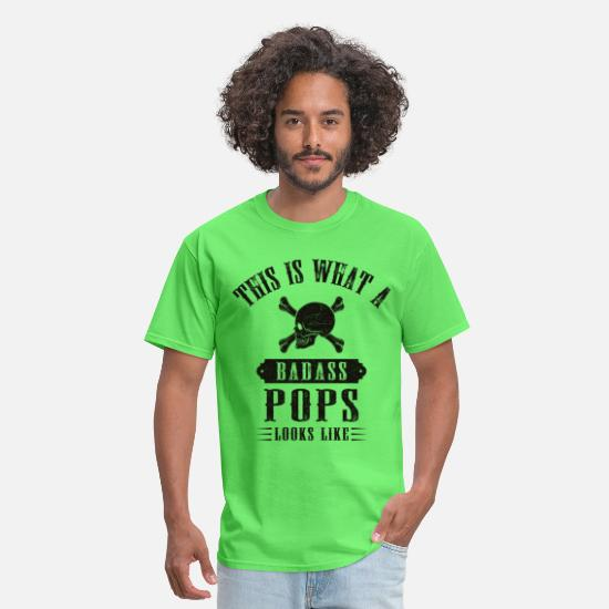 Birthday T-Shirts - This Is What A Bad Ass Pops Looks Like - Men's T-Shirt kiwi