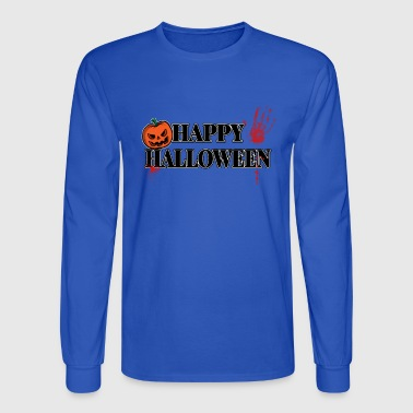Handprint Bloody Handprint Happy Halloween - Men's Long Sleeve T-Shirt