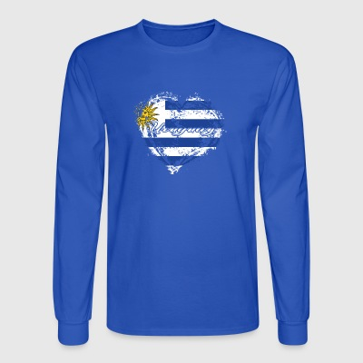 HOME ROOTS COUNTRY GIFT LOVE Uruguay - Men's Long Sleeve T-Shirt