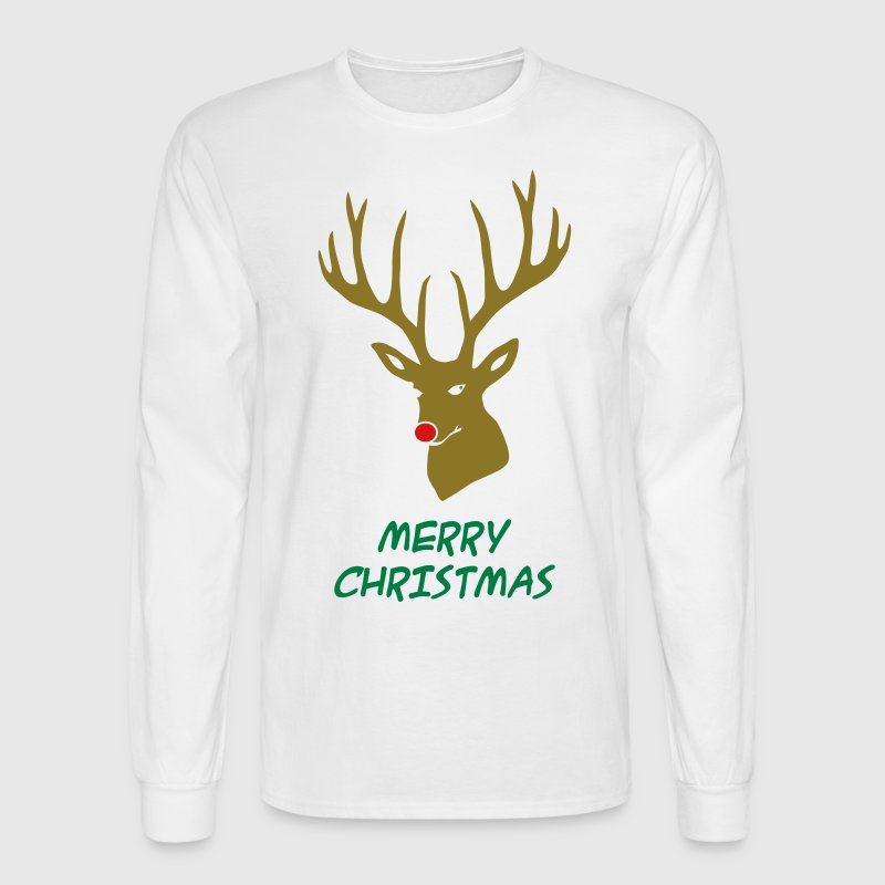 christmas x-mas merry reindeer deer rudolph red nose antlers buck heart - Men's Long Sleeve T-Shirt