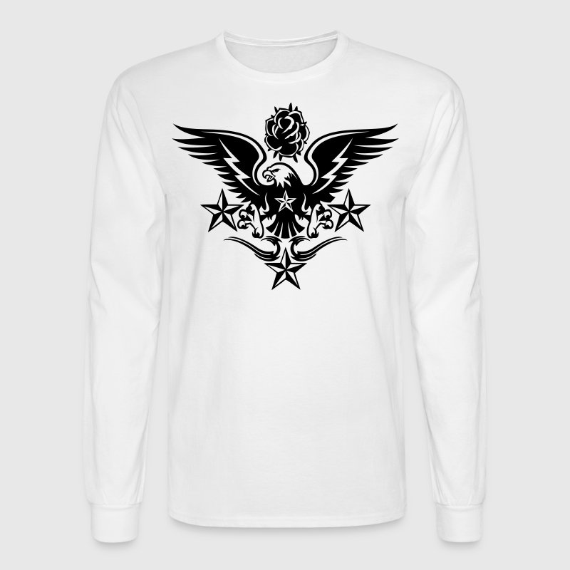 Eagle,Rose,and Nautical Star Lightning Tattoo - Men's Long Sleeve T-Shirt
