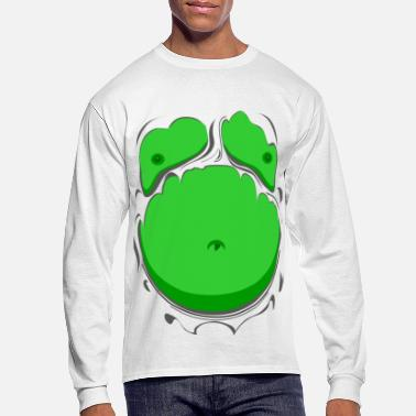 Funny Comic Fat Belly Green, beer gut, beer belly, chest t-shirt - Men's Long Sleeve T-Shirt