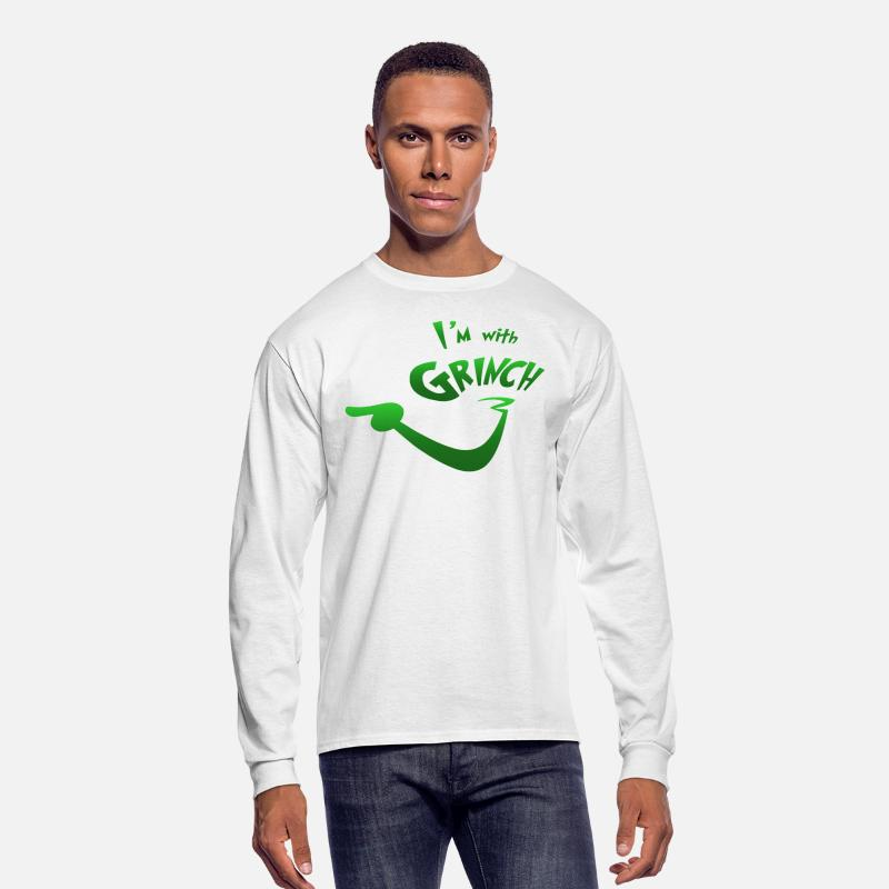 Grinch Long sleeve shirts - I'm with Grinch - Men's Longsleeve Shirt white