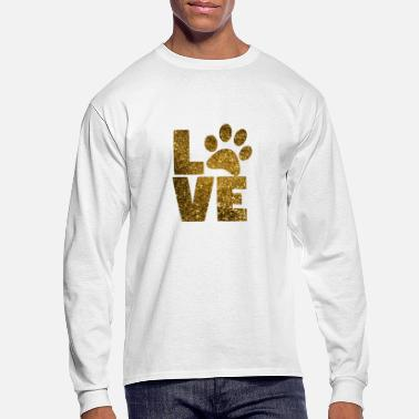 Gold Paw Print Animal Dog Cat Love Glitter Sparkle Gift - Men's Longsleeve Shirt