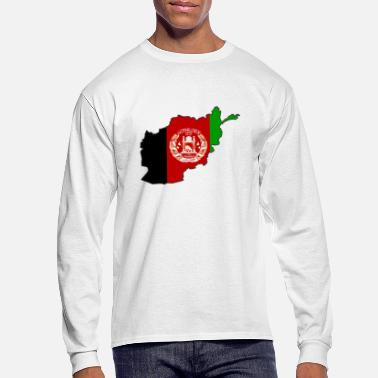 Afghanistan Flag Map of Afghanistan - Men's Long Sleeve T-Shirt