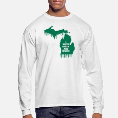 State State Bleed Green and White Michigan - Men's Long Sleeve T-Shirt