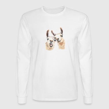 Llama Love Tee & Hoodie - Men's Long Sleeve T-Shirt
