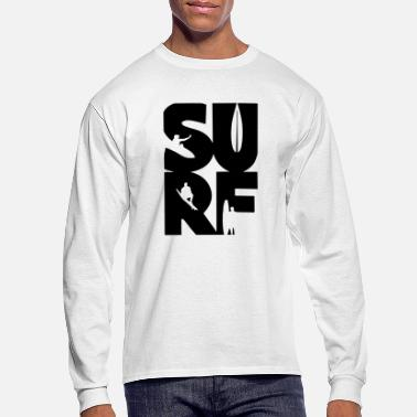Surfing Surf Silhoutte Surfer Surfboard Wave Typography - Men's Long Sleeve T-Shirt