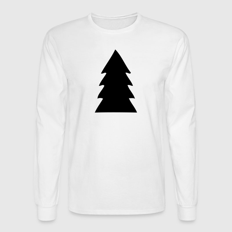 Evergreen Christmas Tree Silhouette - Men's Long Sleeve T-Shirt