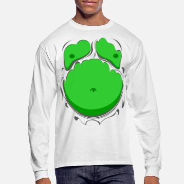 Funny Comic Fat Belly Green, beer gut, beer belly, chest - Men's Longsleeve Shirt