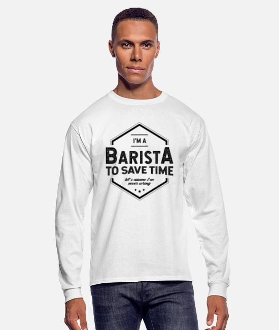 Office Long-Sleeved Shirts - I am Barista - Barista Job Gift Funny - Men's Longsleeve Shirt white