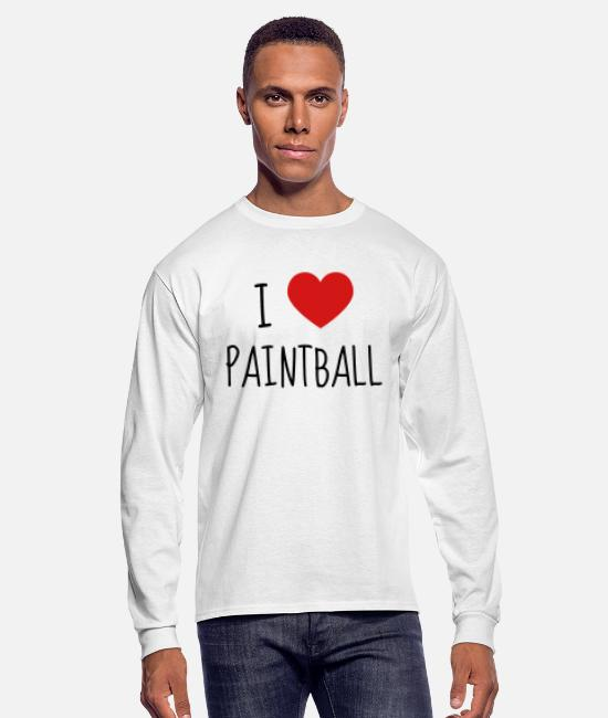 Player Ball Courage Long-Sleeved Shirts - Paintball - Paintballer - Shooting - Airsoft - Men's Longsleeve Shirt white