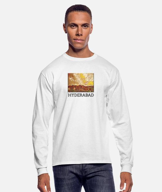 Art Long-Sleeved Shirts - Hyderabad City Skyline Art Sights - Men's Longsleeve Shirt white