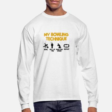 40766250 My funny bowling technique bowl yell and pray - Men's Longsleeve Shirt