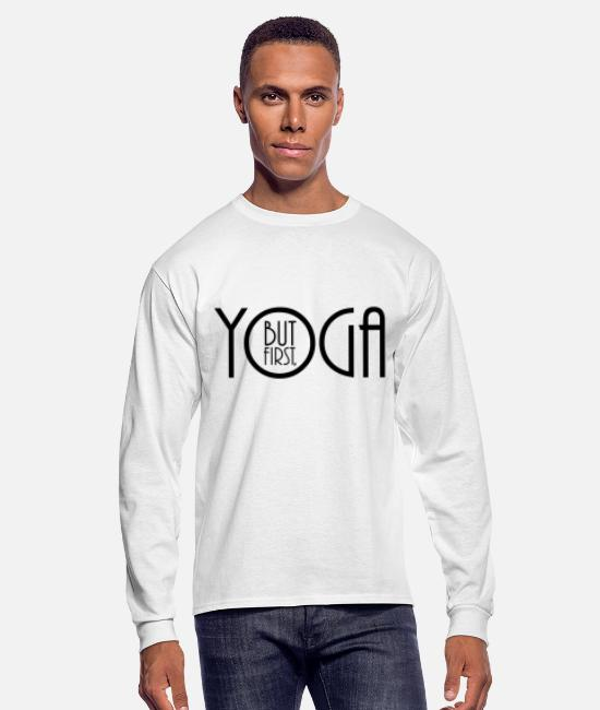 Meme Long-Sleeve Shirts - BUT FIRST YOGA - Men's Longsleeve Shirt white
