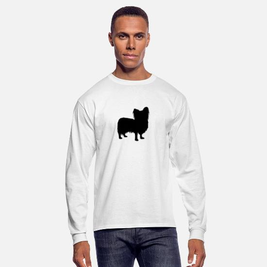 Dog Breed Long-Sleeve Shirts - Papillon - Men's Longsleeve Shirt white