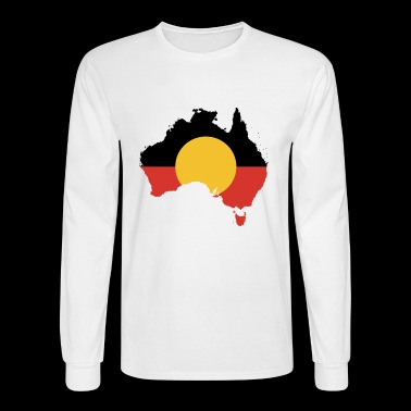Australian Aboriginal Flag on Australian Map - Men's Long Sleeve T-Shirt