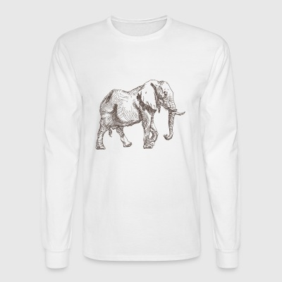 Elephant animal wildlife vector sketch image funny - Men's Long Sleeve T-Shirt