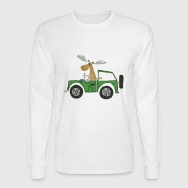 Funny Cool Moose Driving Camouflaged Truck - Men's Long Sleeve T-Shirt