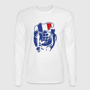 muscular body french flag 1 - Men's Long Sleeve T-Shirt