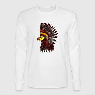 Tribal Eagle Totem with Headdress - Men's Long Sleeve T-Shirt