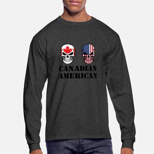 d9fe808130d Men s Longsleeve ShirtCanadian American Flag Skulls. Awesome Shirts