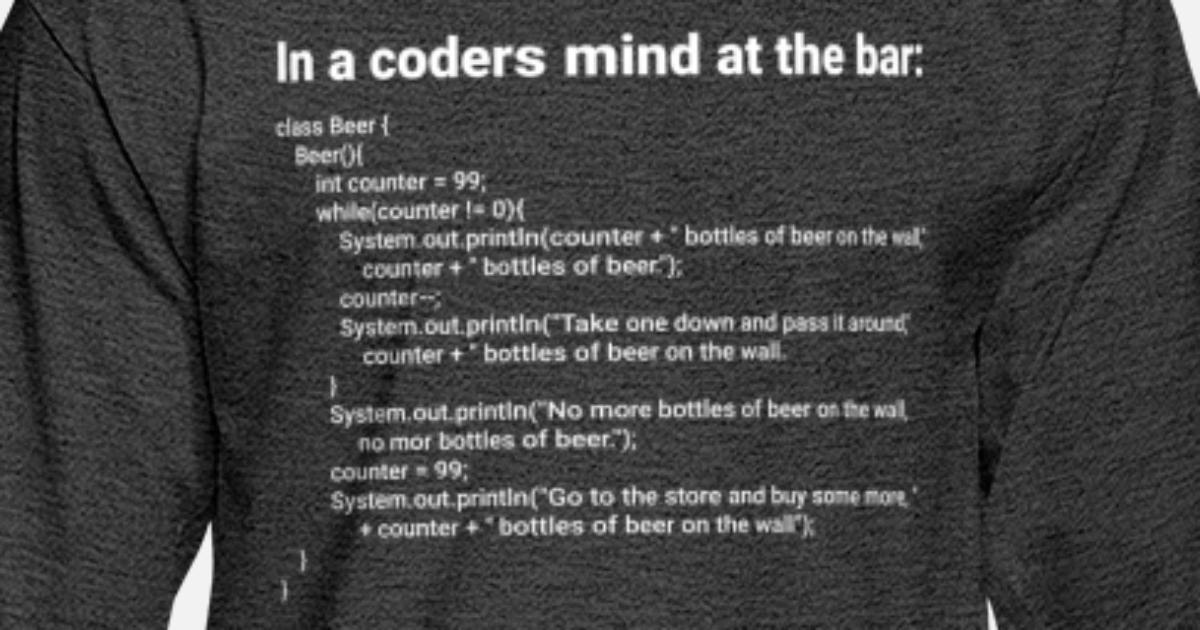 Simple Java 99 Bottles Of Beer Song Lyrics Mens Longsleeve Shirt