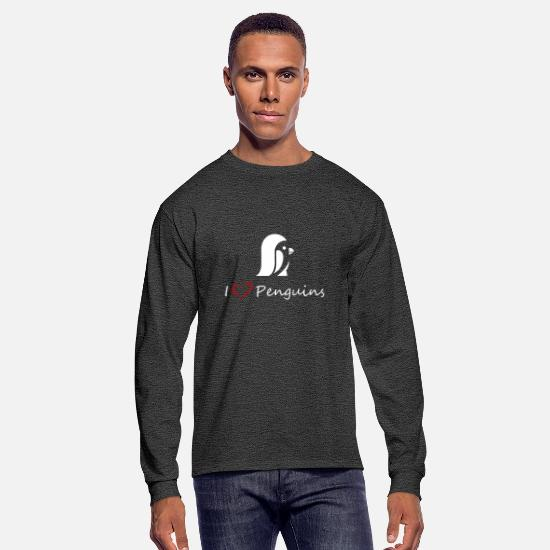 Polar Long-Sleeve Shirts - Love Penguins - Men's Longsleeve Shirt heather black