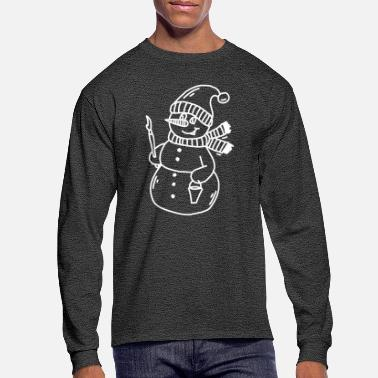Snowman Drawing - Men's Longsleeve Shirt
