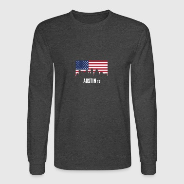 American Flag Austin Skyline - Men's Long Sleeve T-Shirt