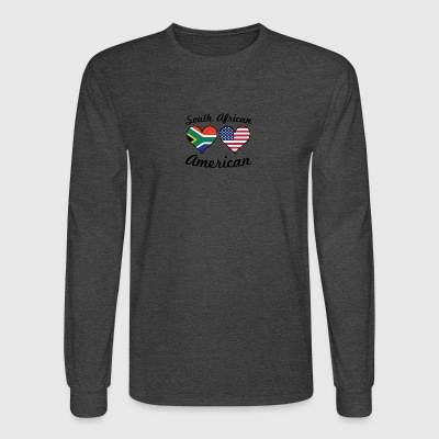 South African American Flag Hearts - Men's Long Sleeve T-Shirt