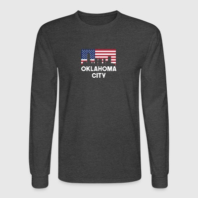 Oklahoma City OK American Flag Skyline - Men's Long Sleeve T-Shirt