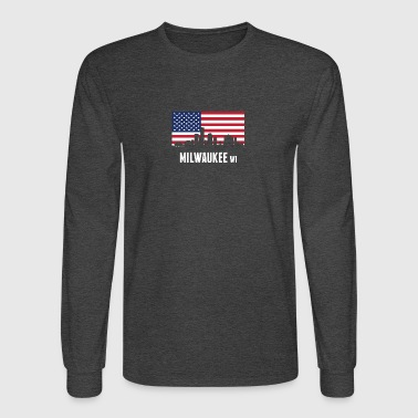 American Flag Milwaukee Skyline - Men's Long Sleeve T-Shirt