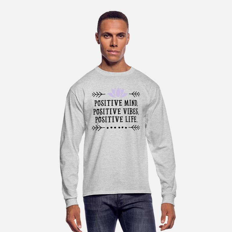 Mother's Day Long sleeve shirts - Positive Mind, Positive Vibes, Positive Life - Men's Longsleeve Shirt heather gray
