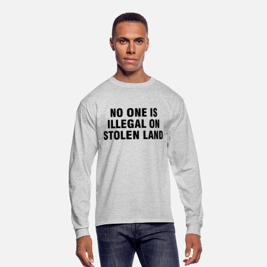 No Long-Sleeve Shirts - No one is illegal on stolen land - Men's Longsleeve Shirt heather gray