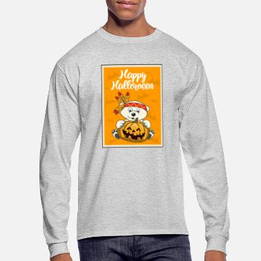 Indian Bear Halloween Polar bear Pumpkin Indian - Men's Longsleeve Shirt
