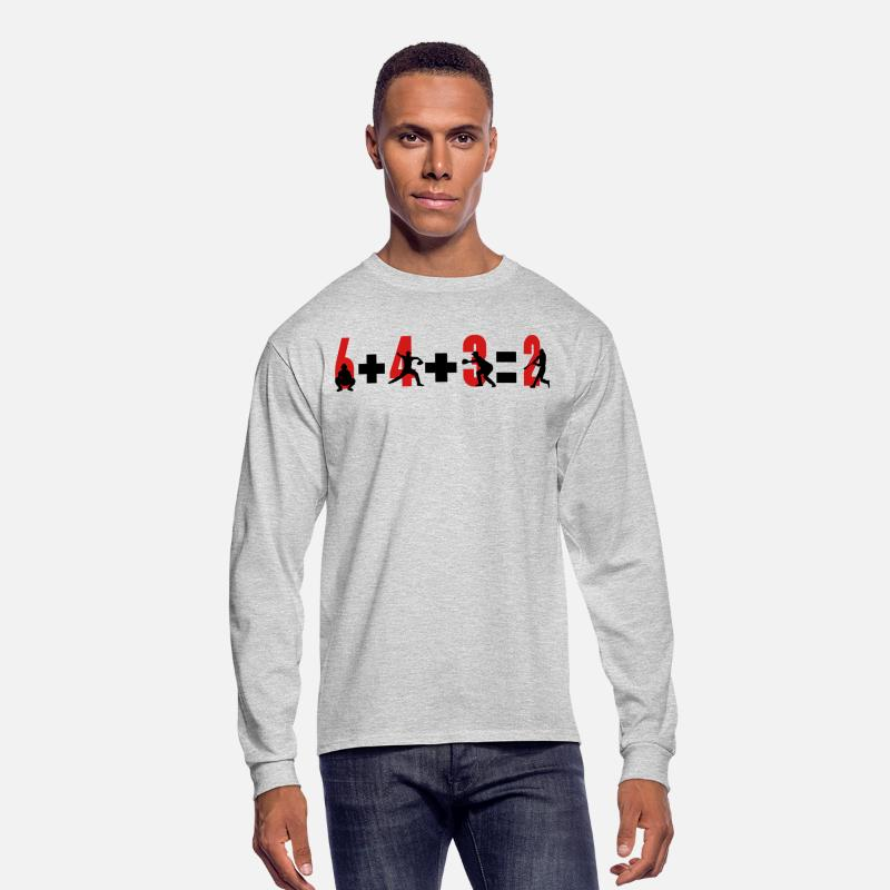 Baseball Long sleeve shirts - Baseball 6+4+3=2 double play - Men's Longsleeve Shirt heather gray