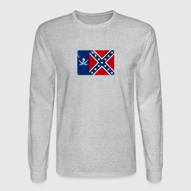 Pirate Texas Confederate Flag - Men's Long Sleeve T-Shirt