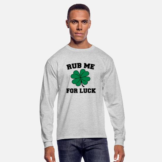 Luck Long-Sleeve Shirts - Rub Me For Luck - Men's Longsleeve Shirt heather gray