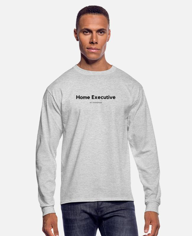 Plain Long-Sleeved Shirts - Home Executive Definition (Black) - Men's Longsleeve Shirt heather gray