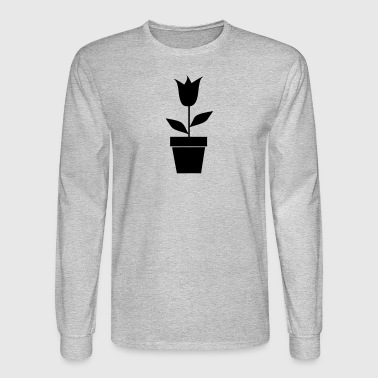 Flower in Pot Silhouette - Men's Long Sleeve T-Shirt