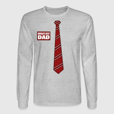 World's Best Dad Red Name Tag and Necktie - Men's Long Sleeve T-Shirt